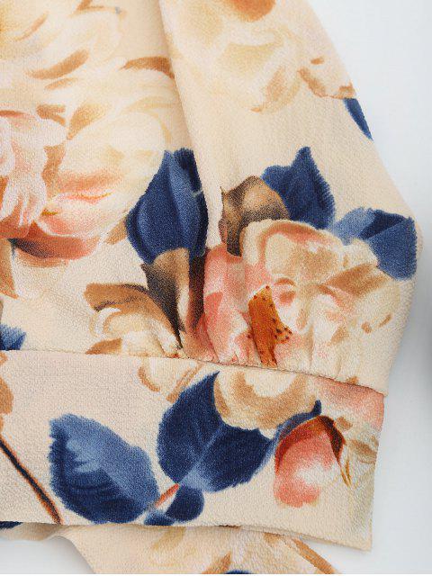 unique Floral Print Cut Out Sleeveless Crop Top - APRICOT L Mobile