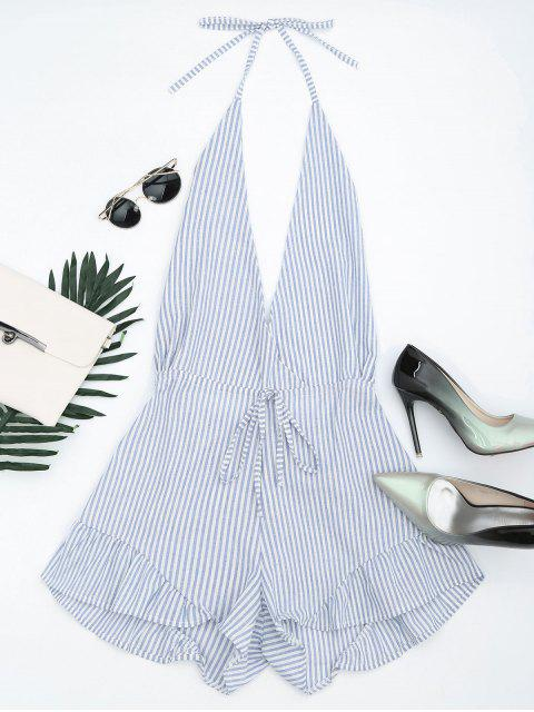 shop Halter Open Back Ruffled Striped Romper - BLUE STRIPE S Mobile