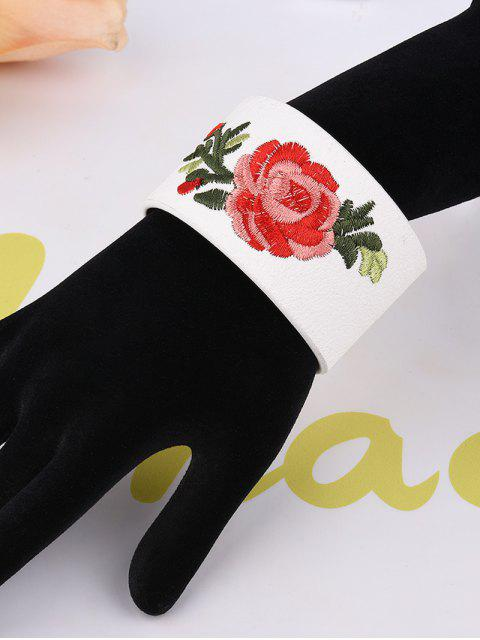 affordable Chinese Embroidery Faux Leather Flower Bracelet - WHITE  Mobile