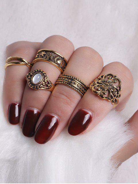 buy Faux Gemstone Engraved Flower Ring Set - GOLDEN  Mobile