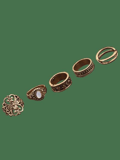 buy Faux Gemstone Engraved Flower Ring Set - GOLDEN  Mobile