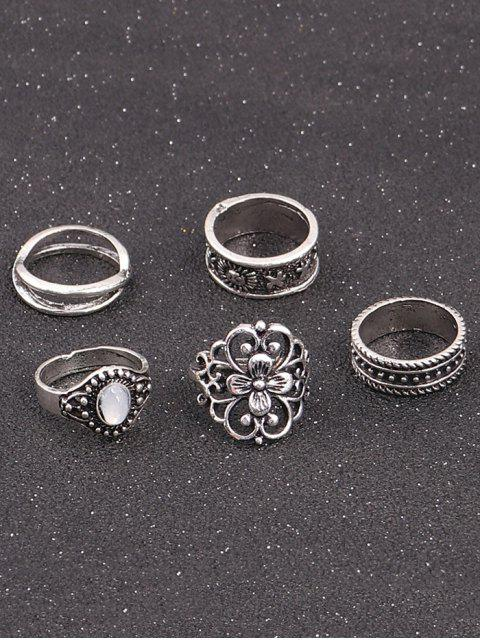 womens Faux Gemstone Engraved Flower Ring Set - SILVER  Mobile