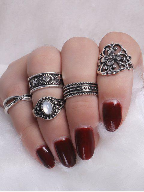 Faux Gemstone Engraved Flower Ring Set - Argent  Mobile
