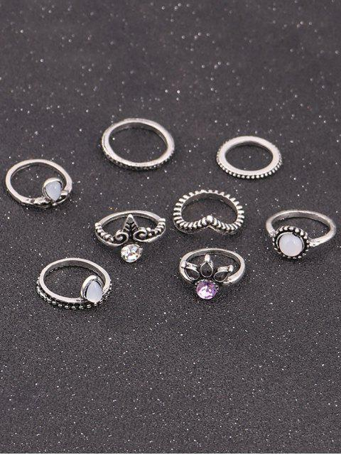 Faux Crystal Opal Teardrop Ring Set - Argent  Mobile