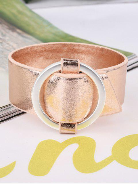 best Artificial Leather Metal Circle Bracelet - ROSE GOLD  Mobile
