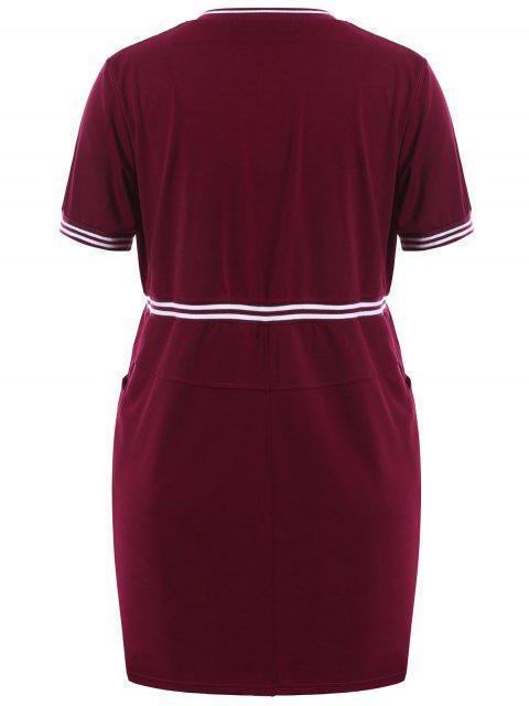 Zipper Contraste Stripe Plus Size Robe avec poches - Rouge vineux  XL Mobile