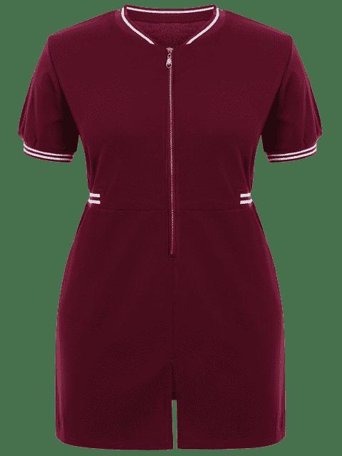 fashion Zipper Contrast Stripe Plus Size Dress with Pockets - WINE RED 2XL Mobile
