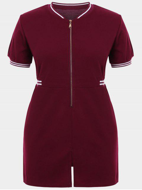 fashion Zipper Contrast Stripe Plus Size Dress with Pockets - WINE RED 2XL Mobile
