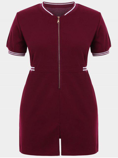 Zipper Contraste Stripe Plus Size Robe avec poches - Rouge vineux  3XL Mobile