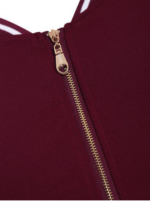 fancy Zipper Contrast Stripe Plus Size Dress with Pockets - WINE RED 3XL Mobile