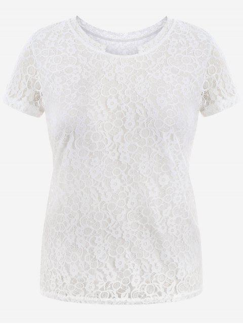 Kurzarm Plus Size Lace Top - Weiß 2XL Mobile