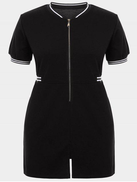 women's Zipper Contrast Stripe Plus Size Dress with Pockets - BLACK XL Mobile