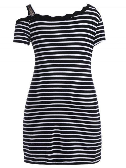 lady Graphic Skew Neck Striped Dress - STRIPE 5XL Mobile