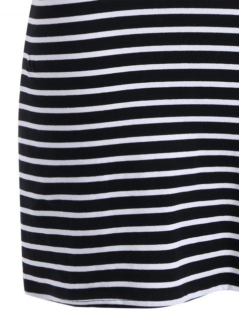 hot Graphic Skew Neck Striped Dress - STRIPE 3XL Mobile