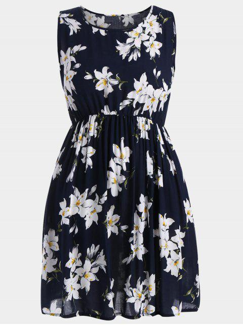 Eine Linie ärmelloses Blumen plus Größen-Kleid - Dunkelblau 5XL Mobile