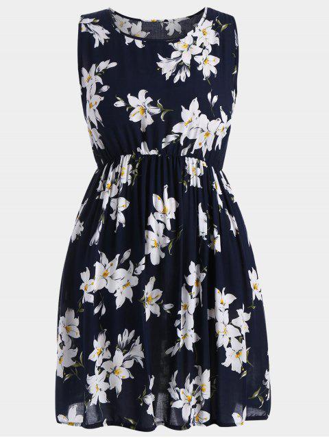Robe Florale Trapèze Sans Manches Grande Taille - Bleu profond 5XL Mobile