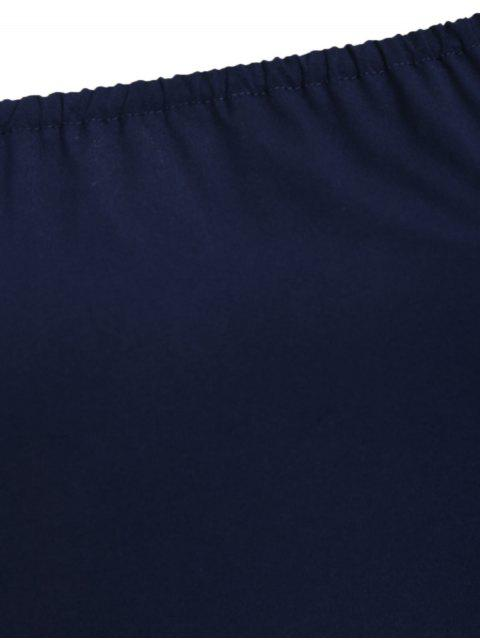 outfit Plus Size Off Shoulder Laser Cut Trapeze Dress - PURPLISH BLUE 3XL Mobile