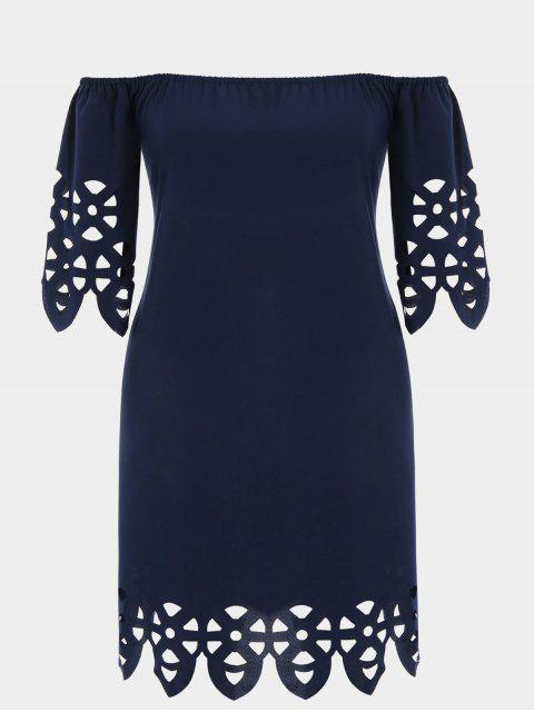 shop Plus Size Off Shoulder Laser Cut Trapeze Dress - PURPLISH BLUE 4XL Mobile