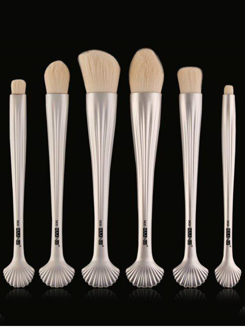 6Pcs Placage Shell Handle Facial Makeup Brushes - Blanc  Mobile