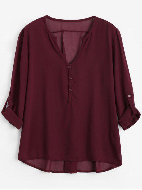 Botón con cuello en V embellecido blusa - Vino Rojo 2XL Mobile