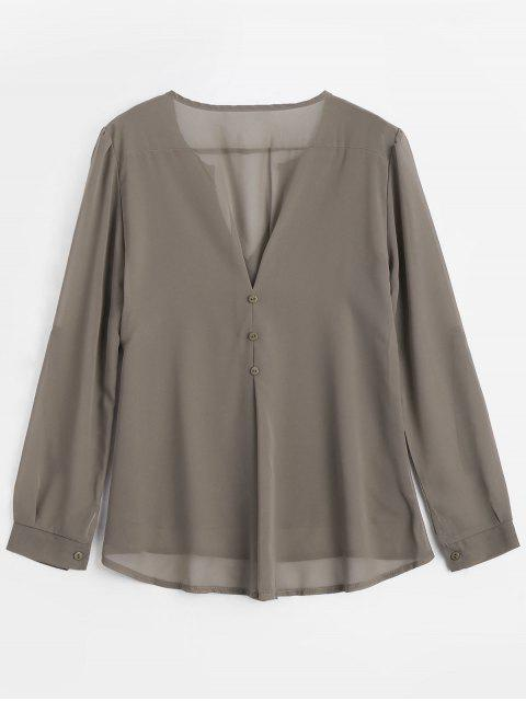 V Neck Button Embellished Blouse - Café Clair S Mobile