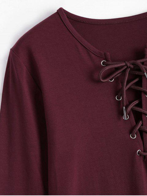 new Lace Up Long Sleeve Plunge Tee - WINE RED XL Mobile