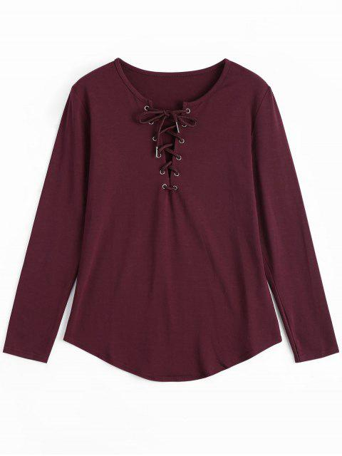 outfits Lace Up Long Sleeve Plunge Tee - WINE RED L Mobile