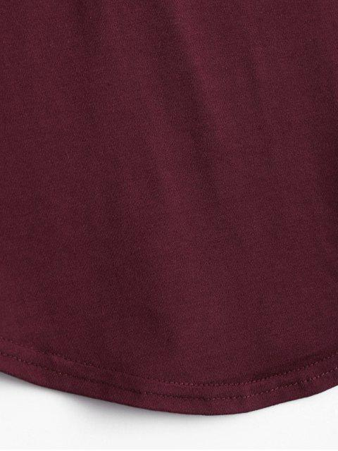 shops Lace Up Long Sleeve Plunge Tee - WINE RED S Mobile