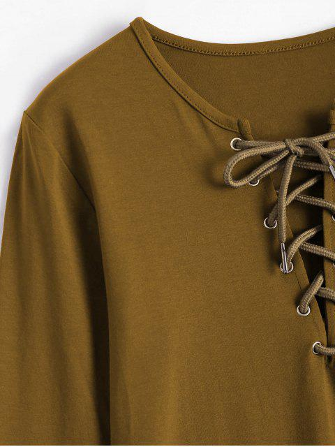 T-shirt Plongeant Manches Longues à Lacets - Terreux L Mobile
