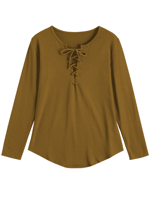 fashion Lace Up Long Sleeve Plunge Tee - EARTHY M Mobile