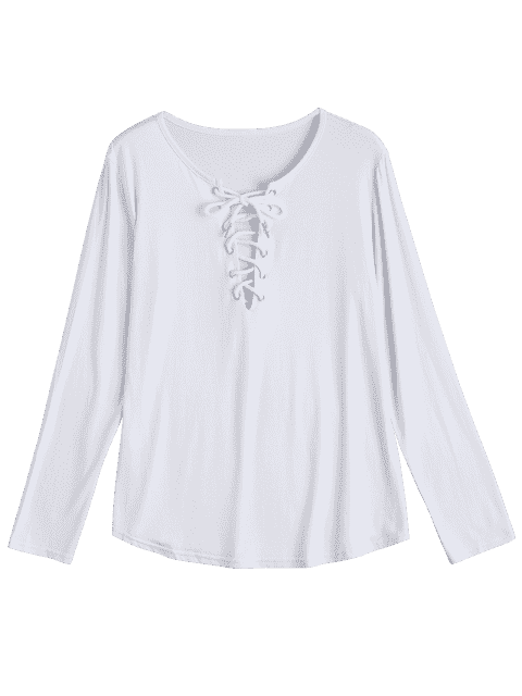 sale Lace Up Long Sleeve Plunge Tee - WHITE M Mobile