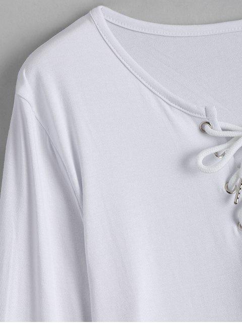 T-shirt à manches longues à manches longues - Blanc S Mobile