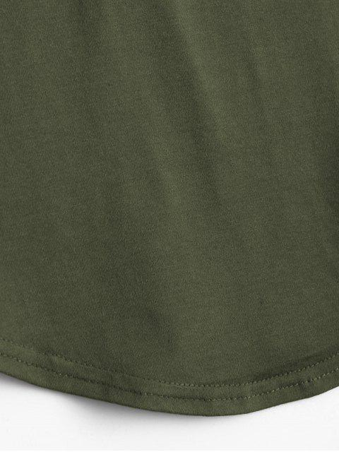buy Lace Up Long Sleeve Plunge Tee - ARMY GREEN XL Mobile