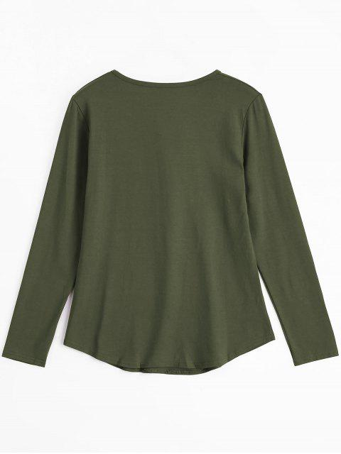 women Lace Up Long Sleeve Plunge Tee - ARMY GREEN M Mobile