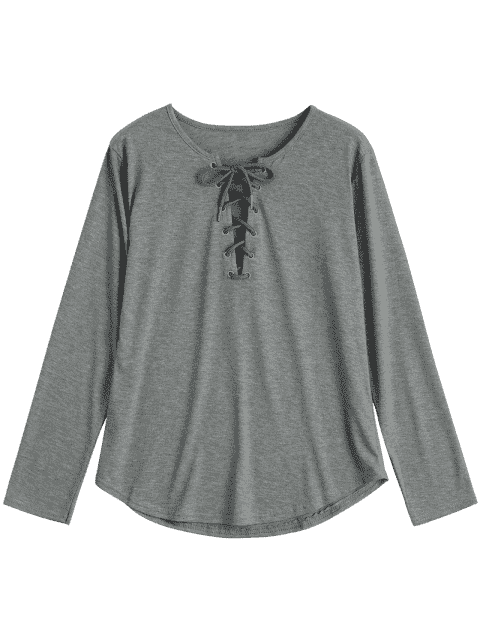 ladies Lace Up Long Sleeve Plunge Tee - GRAY XL Mobile