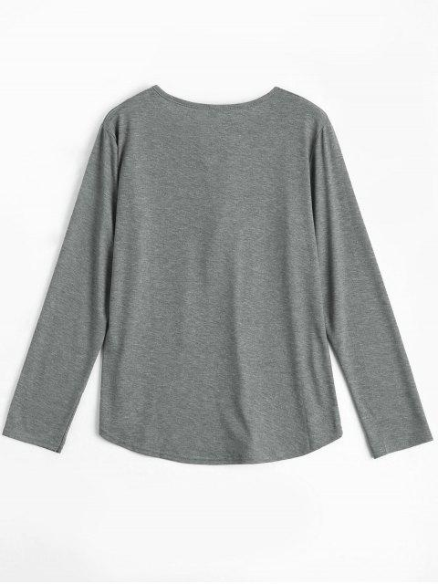 lady Lace Up Long Sleeve Plunge Tee - GRAY L Mobile