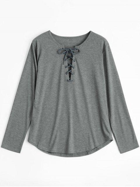 T-shirt Plongeant Manches Longues à Lacets - Gris S Mobile