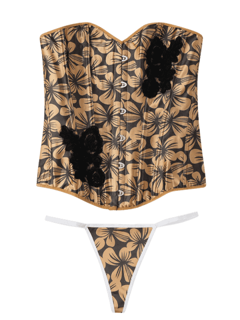 chic Lace-Up Floral Corset Top - LIGHT BROWN M Mobile