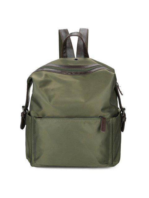 trendy Nylon Backpack with Headphone Hole - GREEN  Mobile