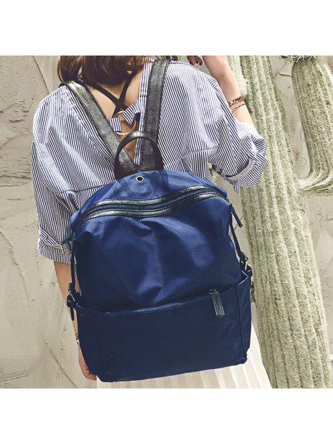 fashion Nylon Backpack with Headphone Hole - BLUE  Mobile