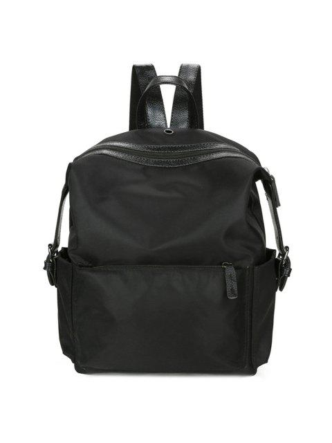 latest Nylon Backpack with Headphone Hole - BLACK  Mobile