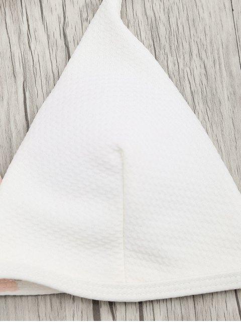 online Padded Macrame Thong Bikini Set - PINK AND WHITE S Mobile