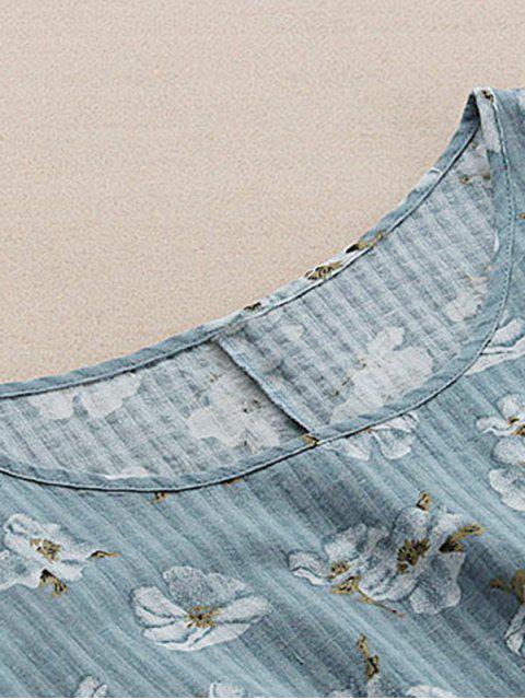 Robe florale à épaule froid à cordon - Gris Bleuté TAILLE MOYENNE Mobile