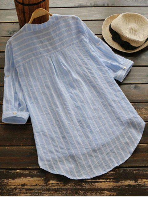 shop Striped Button Up Pocket Blouse - LIGHT BLUE ONE SIZE Mobile