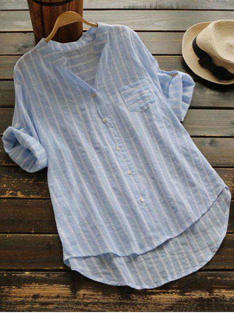 Botón rayado hasta la blusa de bolsillo - Azul Claro Única Talla Mobile