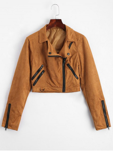 best Fuax Suede Zip Up Cropped Jacket - LIGHT COFFEE M Mobile