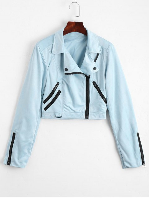 women Fuax Suede Zip Up Cropped Jacket - LIGHT BLUE M Mobile