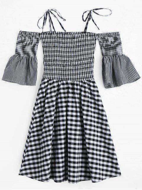 hot Flare Sleeve Cami Smocked Plaid Dress - PLAID M Mobile