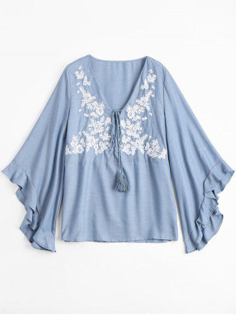 Blusa floral bordada floral de Chambray de la túnica - Azul Claro S Mobile