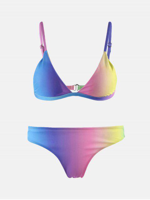 ladies Colorful Spaghetti Strap Ombre Skimpy Bikini - COLORMIX M Mobile